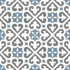 Deco Pattern 45x45cm (450x450mm) Blue Matt Tile