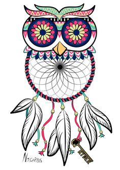 Owl Dreamcatcher Tattoo by natalie-carbis Dream Catcher Drawing, Owl Dream Catcher, Dream Catcher Tattoo, Adult Coloring Pages, Disney Coloring Pages, Atrapasueños Tattoo, Up Tattoos, Tatoos, Owl Drawing Color