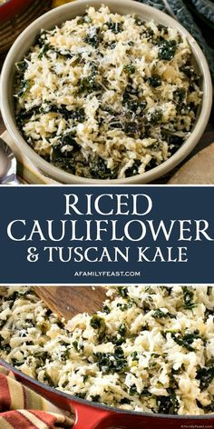 Riced Cauliflower and Tuscan Kale is both nutritious and delicious, as well as super easy to prepare. Riced Cauliflower and Tuscan Kale is both nutritious and delicious, as well as super easy to prepare. Cauliflower Rice Casserole, Cauliflower Risotto, Cauliflower Recipes, Veggie Recipes, Cooking Recipes, Healthy Recipes, Cooked Kale Recipes, Veggie Food, Free Recipes