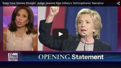 """BOOM!!!! On """"Justice,"""" Judge Jeanine Pirro tore into Hillary Clinton's """"ever-changing,"""" """"schizophrenic"""" narrative surrounding her private email server. - WATCH THIS VIDEO - Red Right Republic"""