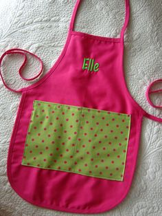 Pink and Green Monogrammed Kids Apron - Personalized Children's Smock on Etsy, $18.00