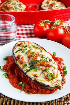 Eggplant Parmesan Boats - Going to try this with @Fieldroast Italian sausage to make it vegetarian....