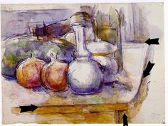 Composing Like Cezanne     Paul Cezanne, Still Life with Carafe, Sugar Bowl,Bottle, Pomegranates and Watermelon, watercolor on paper, Mu...