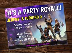 Fortnite Birthday Party Invitation by on Etsy 13th Birthday Parties, 11th Birthday, Birthday Board, Teen Boy Party, Nintendo Switch, Partys, Party Themes, Party Ideas, Holidays And Events