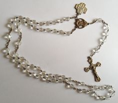 Vintage Silver Plate and Crystal Catholic Rosary 27in Chain by annimae182 on Etsy