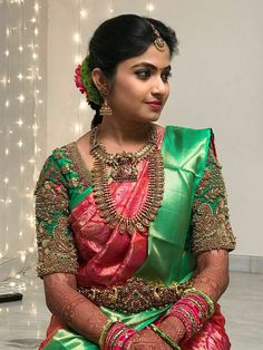 18 Beautiful Brides And Their Exquisite Jewelled Blouses South Indian Bride Saree, Indian Bridal Sarees, Indian Bridal Outfits, Wedding Silk Saree, Bridal Mehndi, Pattu Saree Blouse Designs, Bridal Blouse Designs, Blouse Designs Catalogue, Wedding Saree Collection