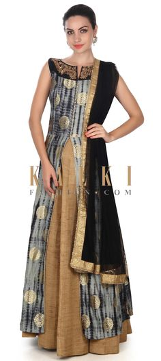 Buy this Black and grey top with embroidered neckline only on Kalki