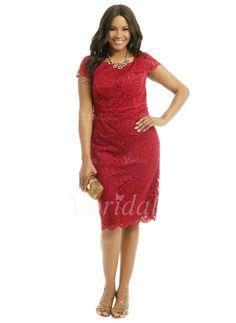 Kleider für die Brautmutter - $140.76 - Etui-Linie U-Ausschnitt Satin Spitze Kleid für die Brautmutter (0085058462)