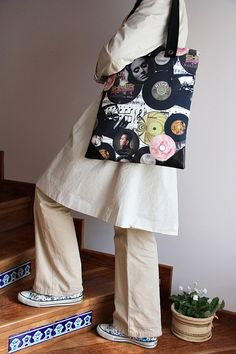 musical prints large diaper bag/  large tote by leyyabags on Etsy, $40.00
