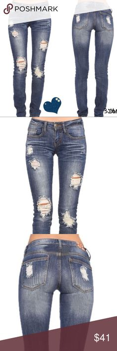 Distressed jeans Machine medium wash distressed skinny jeans look and feel amazing - your go to jeans   ✔️distressing may vary slightly  ✔️97% cotton 3% spandex ✔️rise between 8.5 & 9                                                                Size / waist / length  1, 26, 29  - last pair  3, 27, 29 - last pair  5 - sold out 7, 29, 30 9, 30, 30 11, 31, 30 - last pair 13 - sold out Boutique Jeans Skinny
