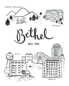Illustration of the different locations of Bethel NY Giclee Print on Epson Archival Matte Paper Includes print, foam backing and clear sleeve for protection. Bethel New York, Caleb Y Sofia, Pioneer School, Pioneer Gifts, Jw Gifts, Bible Truth, Jehovah's Witnesses, Drawing, Worship