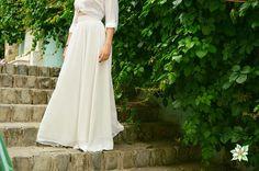 Ivory Chiffon Skirt Wedding Skirt Floor Length Skirt Maxi