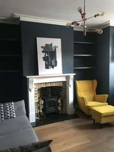 Living room update – Alcove shelves Dark walls decor Hague Blue Farrow and Ball wall paint. Wood burning stove. Copper pendant lamp. Yellow Ikea chair