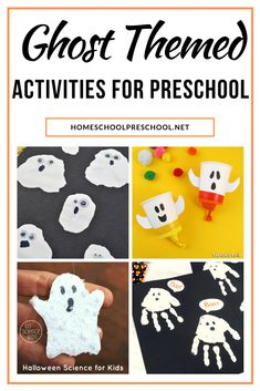 Great ghost activities for preschoolers! Find crafts, printables, book lists, and more. Float on over to discover them all! #ghostactivitiesforpreschoolers #preschoolghosttheme #preschoolhalloweentheme #homeschoolprek