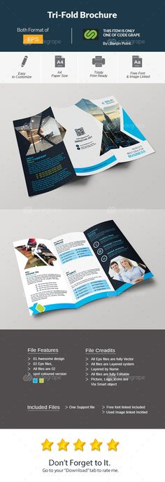 Trifold Brochure Very Powerful & Professional Corporate Clean, Creative & Modern Business Trifold Brochure for Any kinds of Business Use.'Features' - DIN size print dimension with Bleed - Well Layered Organised Booklet Design, Brochure Design, Branding Design, Mo Design, Layout Design, Custom Design, Image Font, Picture Logo, Graphic Design Print