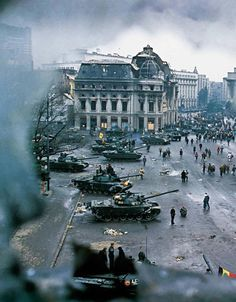 View of tanks and damaged buildings in Bucharest& central square at the conclusion of the Romanian Revolution, Romanian Revolution, Rare Historical Photos, Little Paris, Military Photos, Military History, History Photos, European History, Interesting History, Modern Warfare
