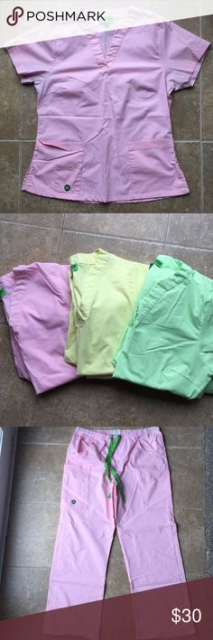 Crocs Scrubs ( 3 sets) 3 Sets of Scrubs- Pastel Pink, Pastel Green, Pastel Yellow  Top Size -M Pant Size-M Very Gently Used- Pink set shows most wear with slight darkness at the armpits from wearing a black scrub jacket over the top. CROCS Other