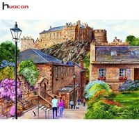 Huacan DIY Diamond Embroidery Landscape Full Round Diamond Painting Town Picture of Rhinestone Mosaic Bead Home Decor Puzzle 1000, Edinburgh, United Kingdom, Jigsaw Puzzles, Australia, Landscape, Street, House Styles, Pictures