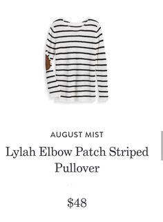 3555106f1a8 August Mist Lylah Elbow Patch Striped Pullover Elbow Patches, Style Ideas,  Stitch Fix,