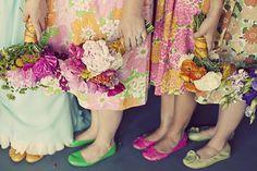 Vintage floral bridesmaid dresses make me happy.