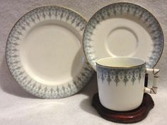 ROYAL WORCESTER TRIO PLATE, CUP & SAUCER BLUE & WHITE  1912 #worcester