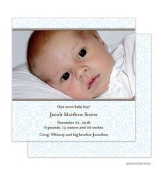 A sweet baby boy has arrived! This square Baby Boy Birth announcement features a background of pretty pattern baby blue. Two bands of chocolate brown frame your digital photo, which is printed directly on the card. from Little Angel Announcements