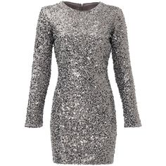 Rental Slate & Willow Silver Aileen Dress ($50) ❤ liked on Polyvore featuring dresses, vestidos, silver, sequined dresses, silver dress, silver long sleeve dress, shift dresses and sequin embellished dress