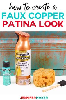 Learn how to create a faux copper patina look for more realistic copper decorations. I will show you how to create a faux copper patina look using regular paint and tools. Copper Spray Paint, Patina Paint, Diy Spray Paint, Patina Color, Metallic Paint, Aged Copper, How To Patina Copper, Copper Work, Brass Patina