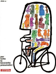 Riccardo Manzi Illustration for Pirelli. Illustration Design Graphique, Art Et Illustration, Vintage Advertisements, Vintage Ads, Grand Art, Mountain Illustration, Bike Poster, Bicycle Art, Cycling Art