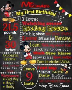 Mickey Birthday Chalkboard Poster