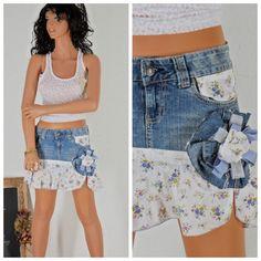 upcycled denim skirt, size 5 / 6, boho jean mini skirt, sunny boho