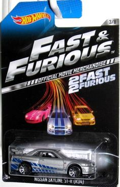 PAUL WALKER'S Nissan Skyline GT-R34 Hot Wheels 2 FAST 2 FURIOUS Movie Car #3/8 #HotWheels #Ford