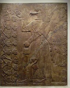 Nimrud, Assyria (Iraq). Neo-Assyrian Period, reign of Ashur-nasir-pal II, circa 883–859 BCE. Pollinating the Tree of Life. LA County Museum