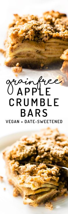 Swap pie for a streusel-y square – these fall-festive Apple Crumble Bars are generously spiced and date sweetened, with a coconut flour crust and crumble! #vegan #paleo #healthy