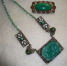 Vtg Art Deco Czech Pressed Peking Glass Enamel Necklace Brooch Max Neiger | eBay