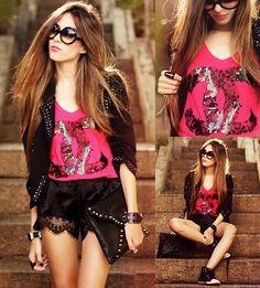 Aluska T Shirt, Kafé Bracelets, Romwe Clutch, Zerouv Sunglasses - Pink! - Flávia Desgranges van der Linden