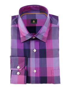 Plaid Woven Dress Shirt, Aster - Robert Talbott
