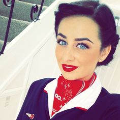 Feeling pretty motivated for work today  #redlips #flying #makeup #blueeyes #selfie #vintagehairup #photooftheday #cabincrew #flightattendant #Greece #boom