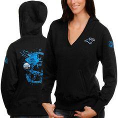 Women's Carolina Panthers Black Deep V-Neck Pullover Hoodie Sweatshirt