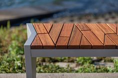 Boardwalk Bench with Atlantic City Boardwalk FSC Recycled reclaimed Cumaru hardwood slats and Aluminum Texture powdercoated frame