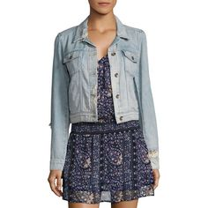 PAIGE Vivienne Cropped Distressed Light Denim Jacket ($172) ❤ liked on Polyvore featuring outerwear, jackets, long sleeve jean jacket, paige denim jacket, blue jean jacket, long sleeve jacket and cropped jacket