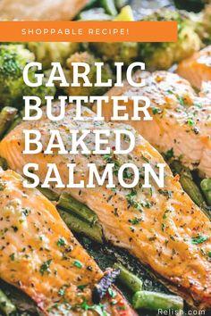 Gluten-Free | Keto Friendly Baked salmon with a savory garlic butter sauce! Pair it with your favorite seasonal veggie. Coho Salmon Recipe, Sockeye Salmon Recipes, Baked Salmon Recipes, Fish Recipes, Seafood Recipes, Salmon Avacado, Honey Salmon, Glazed Salmon, Parmasean Crusted Salmon