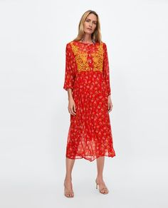 ZARA - WOMAN - DRESS WITH EMBROIDERED BIB FRONT