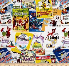 Vintage Disney Fabric- Greatest Love Story Movie Poster Fabric- Springs Creative- 100% Cotton Fabric by QuiltsOnTheFly on Etsy