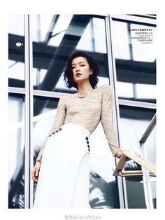 Du Juan for Elle China June 2015 - DIOR SS15 skirt