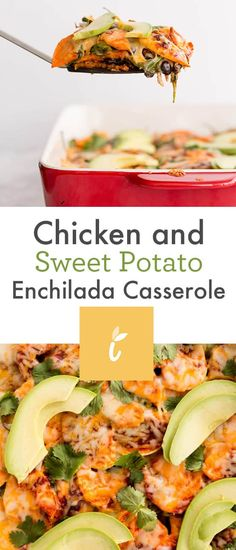 Chicken and Sweet Potato Enchilada Casserole Paleo Sweet Potato, Sweet Potato Noodles, Sweet Potato Recipes, Sweet Potatoe Enchiladas, Sweet Potato Casserole, Potato Pie, Cooking Dishes, Cooking Recipes, Cooking Tips