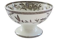 "1880 Brown Transferware Wedgewood ""Louise"" pattern Footed Bowl.  (SOLD)"