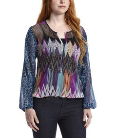 This Fuchsia & Blue Zigzag Leopard V-Neck Blouse by Blue Plate is perfect! #zulilyfinds