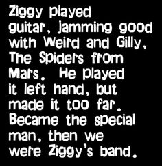 David Bowie - Ziggy Stardust - song lyrics, music lyrics, song quotes, music quotes, songs