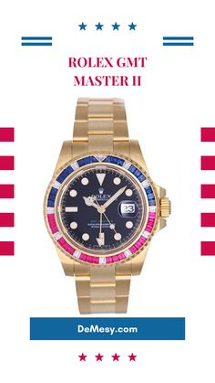 Celebrate summer BBQs with this Rolex GMT -Master II featuring sapphire, rubies, and diamonds. Rolex Watches For Men, Rolex Gmt Master, Oysters, Gold Watch, Sapphire, Diamonds, Summer, Accessories, Mens Watches Rolex